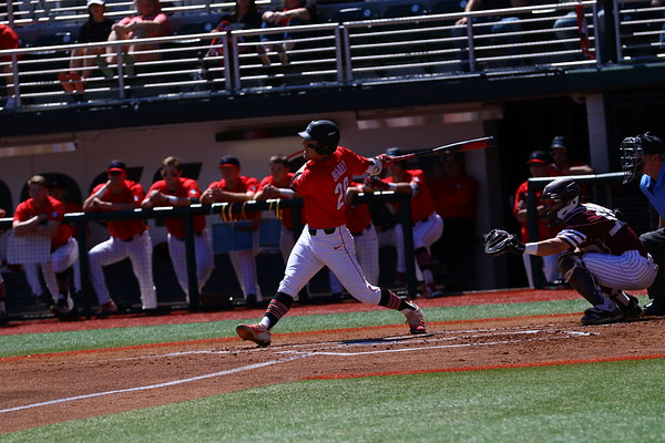 Georgia outfielder Tucker Bradley (28) during the Bulldogs' game against Texas A&M at Foley Field in Athens, Ga. on Saturday, March 31, 2018. (Photo by Steffenie Burns)