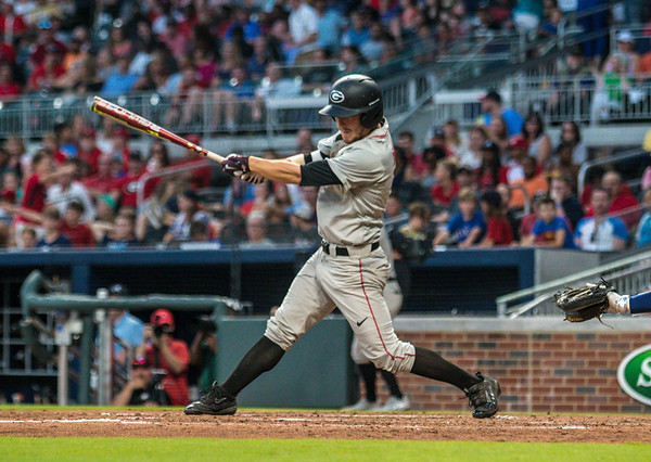 Georgia outfielder Tucker Bradley (28) during the Bulldogs' game against Georgia Tech at SunTrust Park in Atlanta, Ga. on Tuesday, May 9, 2017. (Photo by John Paul Van Wert)