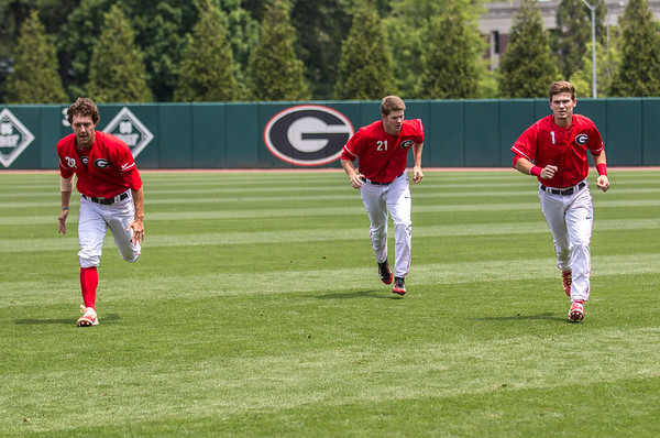 Georgia outfielder Tucker Bradley (28), outfielder Logan Moody (21), and outfielder Tucker Maxwell (1) during the Bulldogs' game against Florida at Foley Field in Athens, Ga. on Saturday, April 29, 2017. (Photo by John Paul Van Wert)