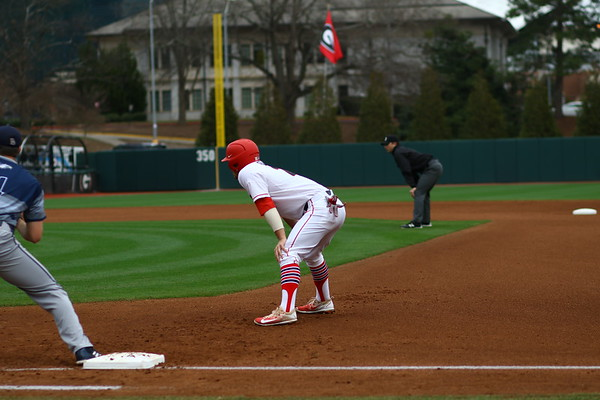 Georgia Georgia outfielder Tucker Bradley (28) during the Bulldogs' game against Georgia Southern at Foley Field in Athens, Ga. on Saturday, Feb. 17, 2018. (Photo by Steffenie Burns)