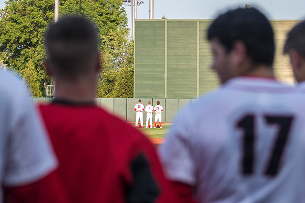 Georgia outfielder Keegan McGovern (32), outfielder Tucker Maxwell (1), and outfielder Tucker Bradley (28) during the Bulldogs' game against Florida at Foley Field in Athens, Ga. on Friday, April 28, 2017. (Photo by John Paul Van Wert)