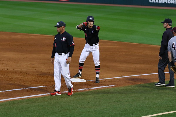 Georgia outfielder Tucker Bradley (28) during the Bulldogs' game against Texas A&M at Foley Field in Athens, Ga. on Friday, March 30, 2018. (Photo by Steffenie Burns)