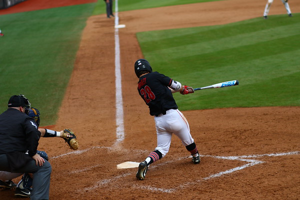 Georgia outfielder Tucker Bradley (28) during the Bulldogs' game against Toledo at Foley Field in Athens, Ga. on Saturday, March 10, 2018. (Photo by Steffenie Burns)