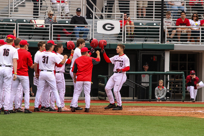 Georgia catcher Michael Curry (13) after his home run during the Bulldogs' game against Rider at Foley Field in Athens, Ga. on Saturday, March 11, 2017. (Photo by Cory A. Cole / Georgia Sports Communication)
