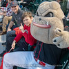 Hairy Dawg sitting with fans