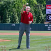 Charley Trippi throws out the first pitch
