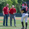 C.J. Smith present the ceremonial first pitch ball to Charley Trippi