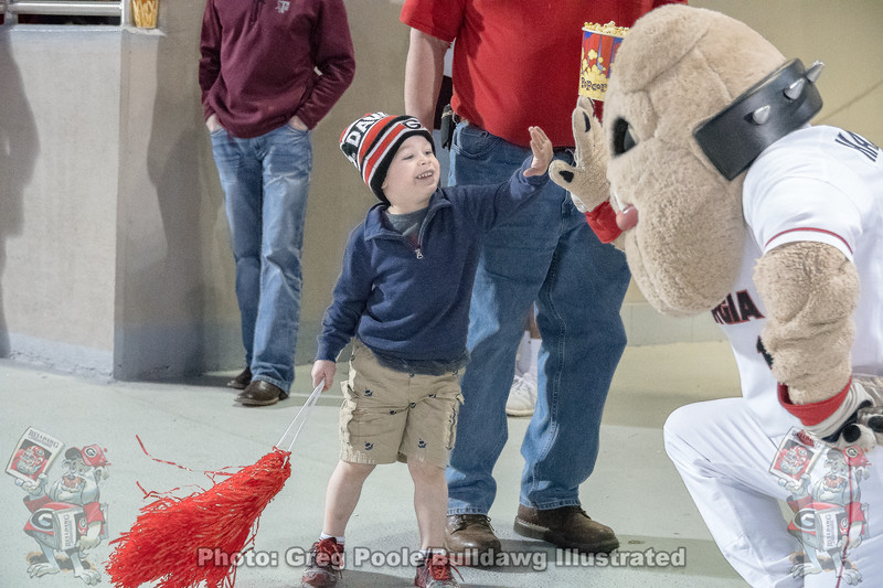 Hairy Dawg and a fan  – Georgia vs. Texas A&M – March 30, 2018