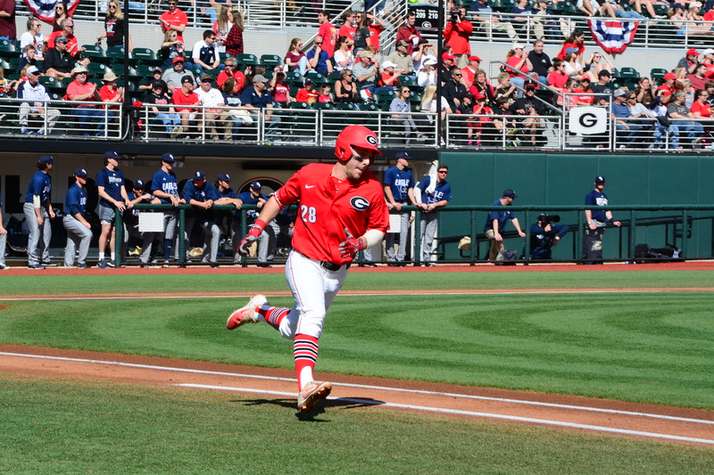 Georgia's Tucker Bradley (28) during the Bulldogs' game against Georgia Southern at Foley Field in Athens, Ga. on Sunday, Feb. 18, 2018. (Photo by Caitlyn Tam)