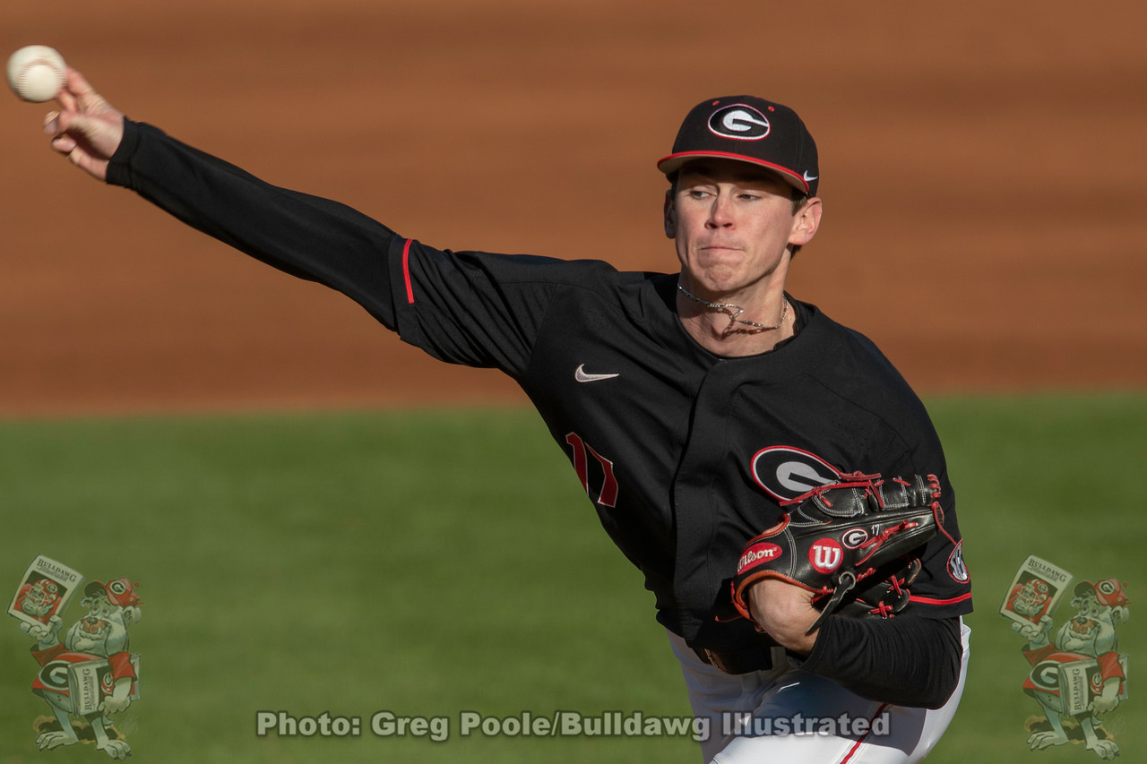 UGA baseball's Emerson Hancock puts some mustard on the ball in the Bulldogs' game versus Santa Clara on Friday, February 21, 2020 at Foley Field.
