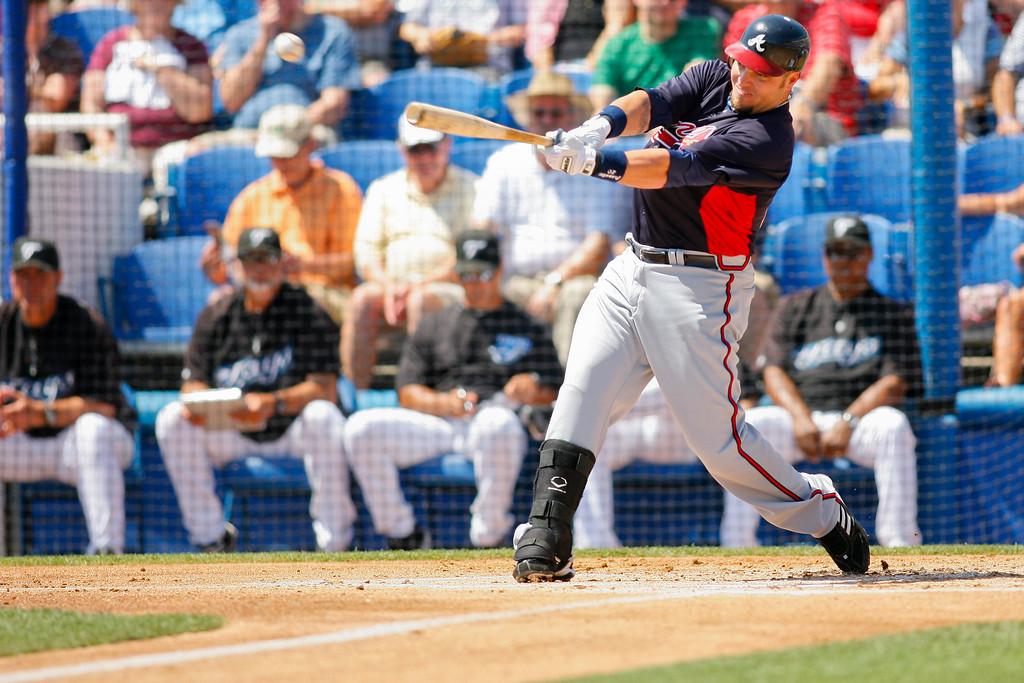 Atlanta Braves catcher David Ross (8) at bat during a Grapefruit League Spring Training Game at the Florida Auto Exchange Stadium.