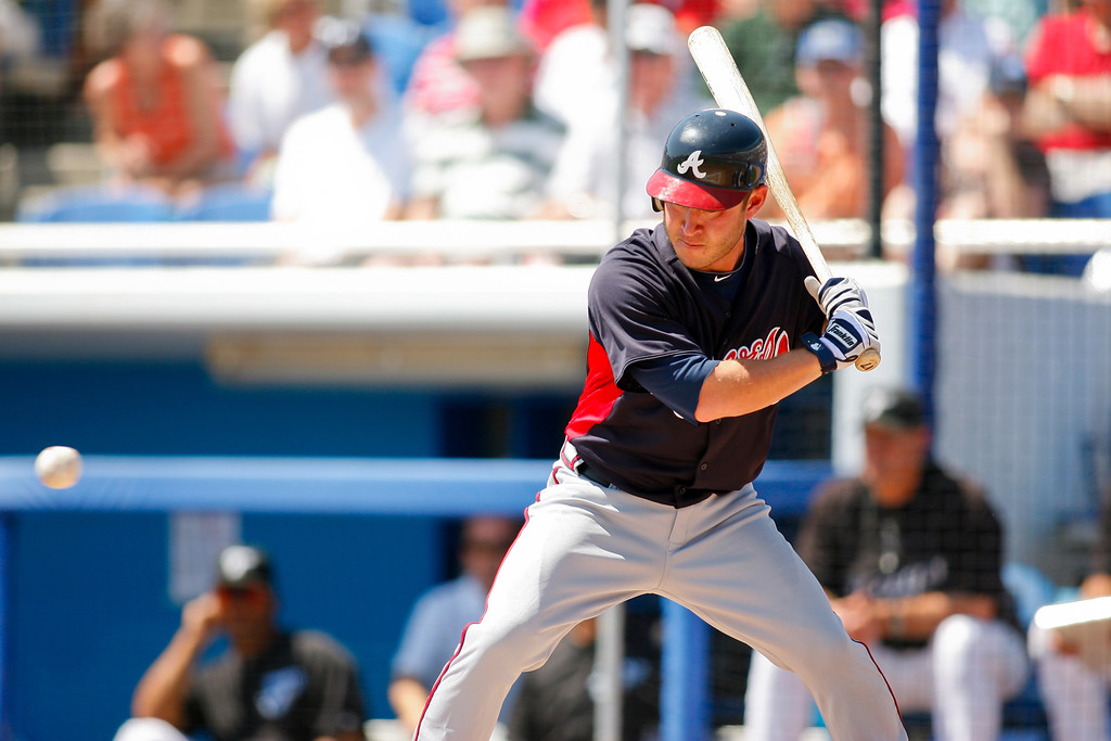 Atlanta Braves left fielder Matt Young (17) at bat during a Grapefruit League Spring Training Game at the Florida Auto Exchange Stadium.