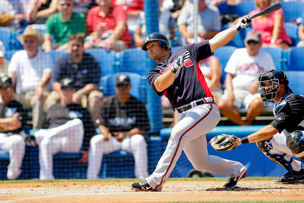 Atlanta Braves catcher David Ross (8) at bat during a Grapefruit League Spring Training Game at the Florida Auto Exchange Stadium.