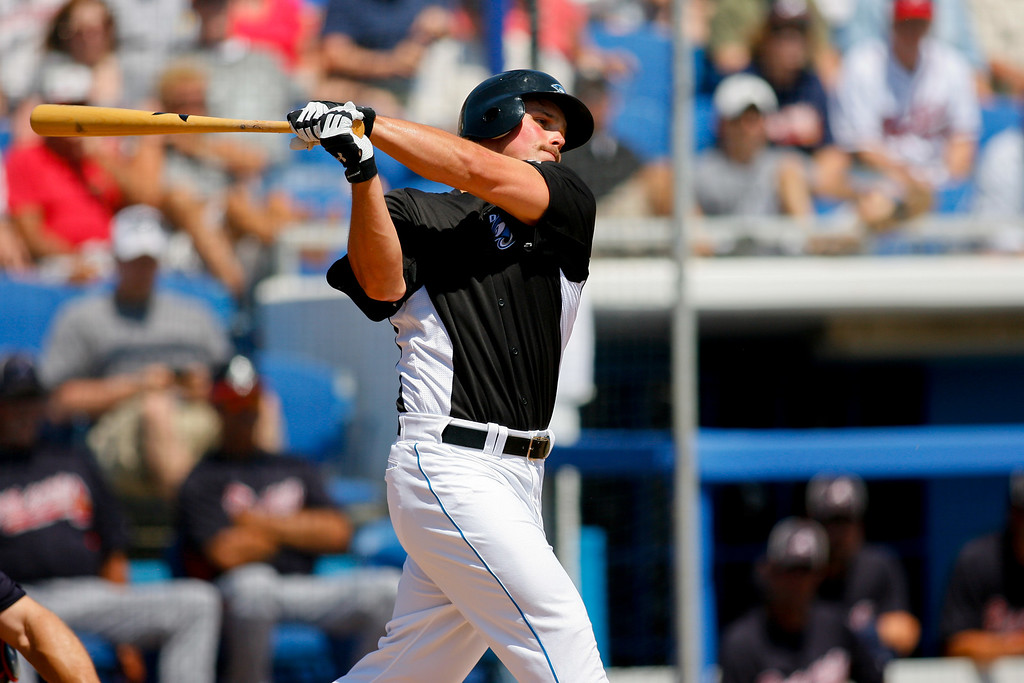 Toronto Blue Jays left fielder Travis Snider (45) at bat during a Grapefruit League Spring Training Game at the Florida Auto Exchange Stadium.