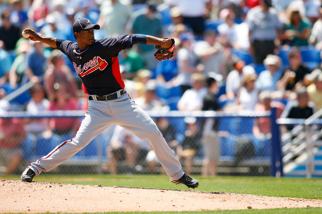 Atlanta Braves relief pitcher Juan Abreu (61) throws a pitch during a Grapefruit League Spring Training Game at the Florida Auto Exchange Stadium.