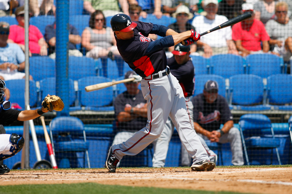 Atlanta Braves OF Joe Mather (4) at bat during a Grapefruit League Spring Training Game at the Florida Auto Exchange Stadium.