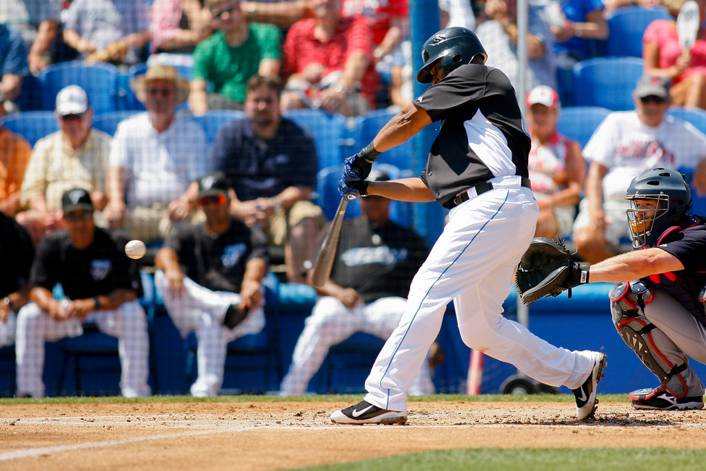 Toronto Blue Jays first baseman Edwin Encarnacion (10) at bat during a Grapefruit League Spring Training Game at the Florida Auto Exchange Stadium.