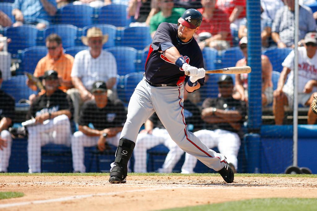 Atlanta Braves left fielder Eric Hinske (20) at bat during a Grapefruit League Spring Training Game at the Florida Auto Exchange Stadium.