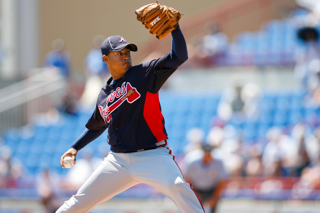 Atlanta Braves starting pitcher Jair Jurrjens (49) throws a pitch during a Grapefruit League Spring Training Game at the Florida Auto Exchange Stadium.
