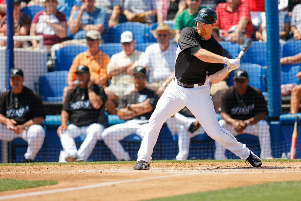 Toronto Blue Jays left fielder Adam Lind (26) at bat during a Grapefruit League Spring Training Game at the Florida Auto Exchange Stadium.