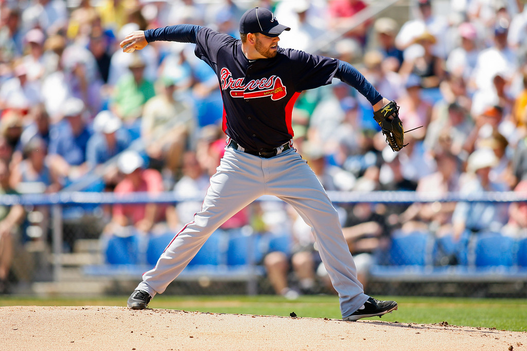 Atlanta Braves relief pitcher Peter Moylan (58) throws a pitch during a Grapefruit League Spring Training Game at the Florida Auto Exchange Stadium.
