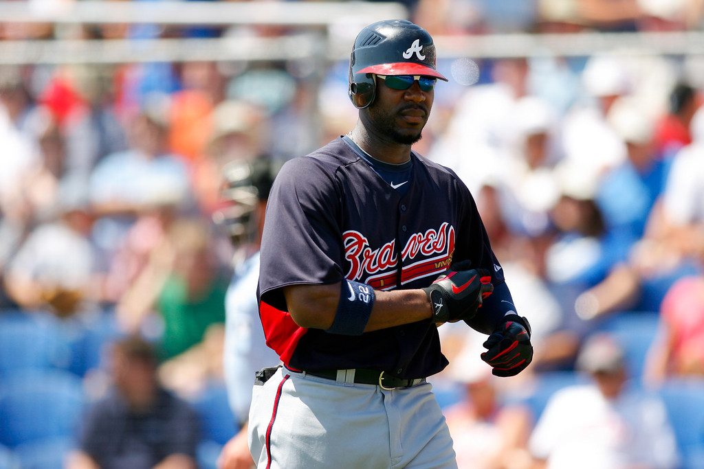 Atlanta Braves right fielder Jason Heyward (22) walks off the field after being struck out in the top of the first during a Grapefruit League Spring Training Game at the Florida Auto Exchange Stadium.