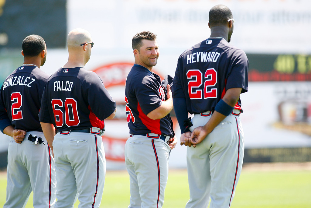 Atlanta Braves right fielder Jason Heyward (22) andAtlanta Braves second baseman Dan Uggla (26) stand during the national anthem prior to a Grapefruit League Spring Training Game at the Florida Auto Exchange Stadium.