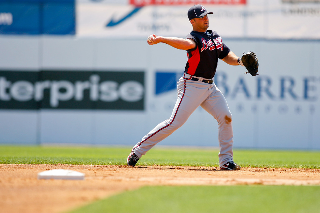 Atlanta Braves second baseman Dan Uggla (26) throws to first to make the out during a Grapefruit League Spring Training Game at the Florida Auto Exchange Stadium.