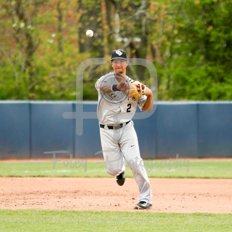 5/13/16 Storrs Connecticut: Central Florida's Matthew Mika makes a throw to first during an American Athletic Conference matchup. The Huskies defeated the Knights 5-4 at J.O. Christian Field in Storrs, Connecticut.