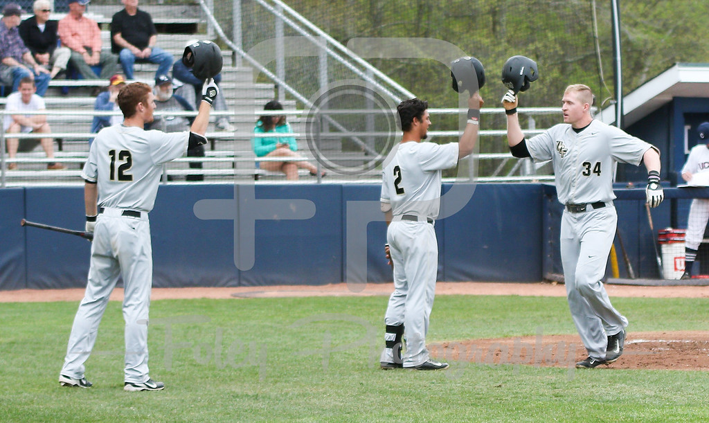 5/13/16 Storrs Connecticut: Central Florida's Eli Putnam (34) celebrates his homer during an American Athletic Conference matchup. The Huskies defeated the Knights 5-4 at J.O. Christian Field in Storrs, Connecticut.