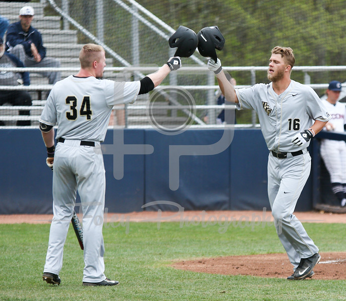 5/13/16 Storrs Connecticut: Central Florida's Sam Tolleson (16) celebrates his homer with teammate Eli Putnam (34) during an American Athletic Conference matchup. The Huskies defeated the Knights 5-4 at J.O. Christian Field in Storrs, Connecticut.