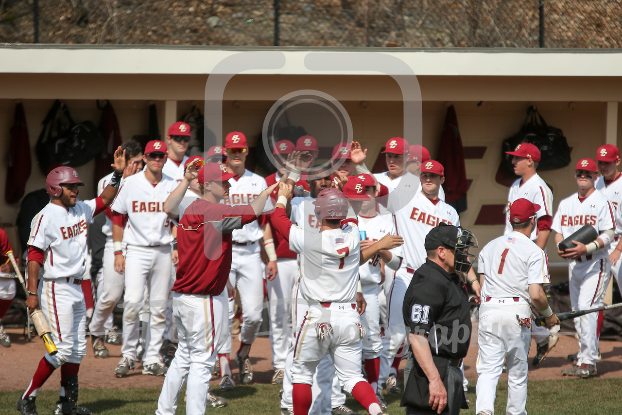 Friday April 22, 2016 Chestnut Hill, Massachusetts; Boston College infielder Nick Sciortino (7) celebrates scoring a run during a game between the Boston College Eagles and the Louisville Cardinals. BC won the game 6-1 at Shea Field.