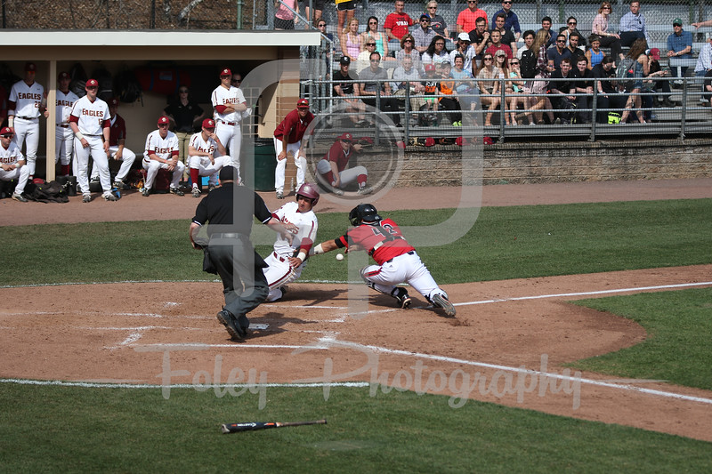 Boston College catcher Gian Martellini (2) Louisville catcher Colby Fitch (42)