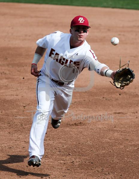 Boston College second baseman Jake Palomaki (11) Boston College infielder Joe Cronin (4)