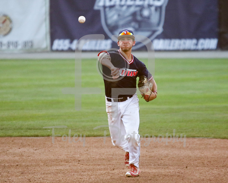 Worcester, Massachusetts; Torrington Titans Jake Rosen (8) of Virginia Tech throws a ball to first base during a game between the Worcester Bravehearts and the Torrington Titans on 7/7/16.