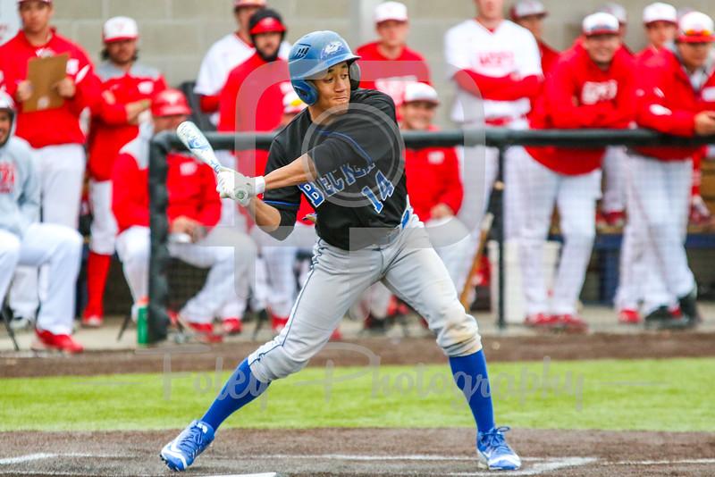 Becker College Hawks outfielder Josiah Shepherd (14)