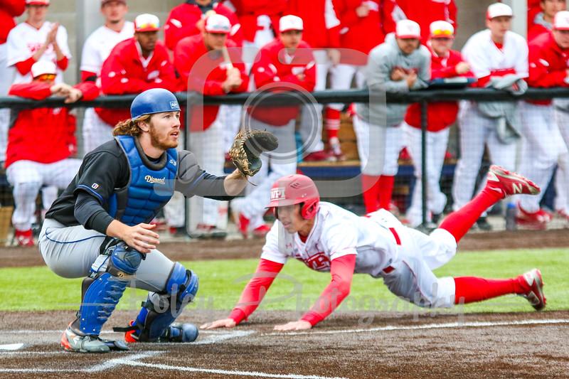 WPI Engineers Steven Gallagher (14) Becker College Hawks catcher Trevor Read (6)
