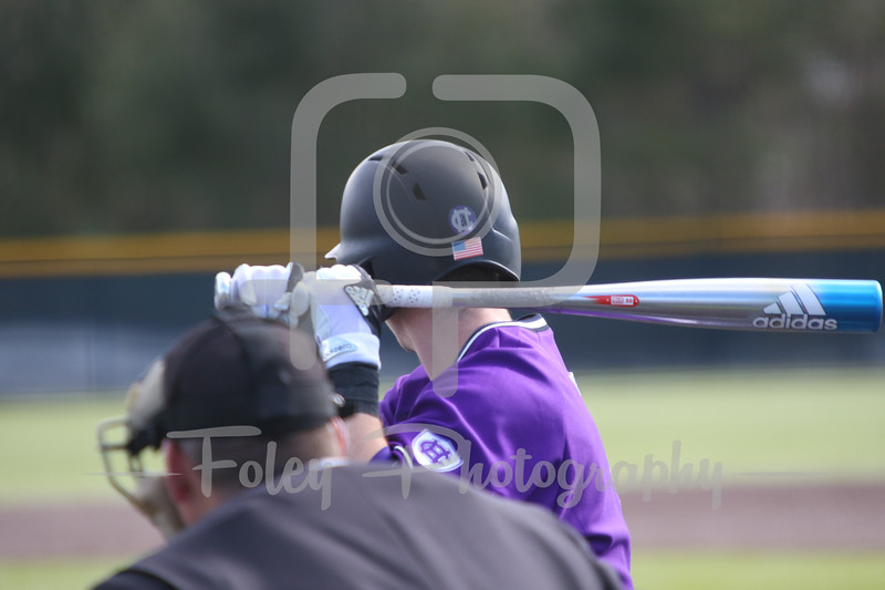 Sunday, February 19, 2017; Northboro, MA; A Holy Cross player focuses before a pitch during the Blue Devils 3-2 victory over the Crusaders in each team's season opener at the New England Baseball Complex.