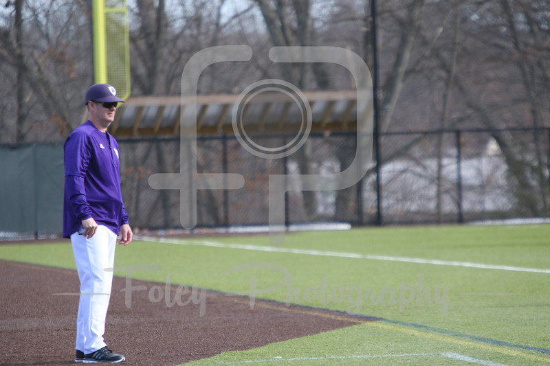 Sunday, February 19, 2017; Northboro, MA; A Holy Cross Crusaders coach looks on during the Blue Devils 3-2 victory over the Crusaders in each team's season opener at the New England Baseball Complex.
