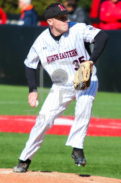 Northeastern Huskies pitcher Mike Fitzgerald (35)