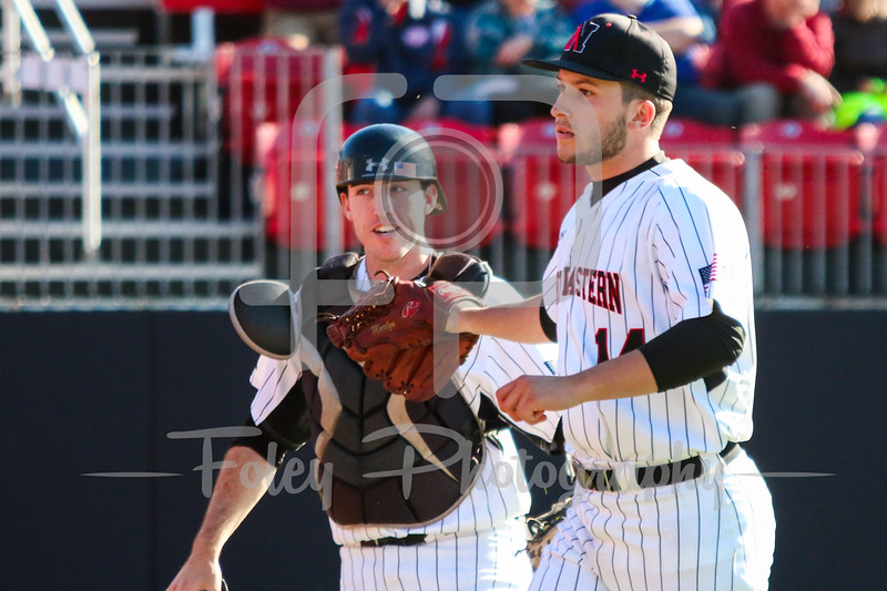Northeastern Huskies pitcher Andrew Misiaszek (14) Northeastern Huskies catcher John Mazza (15)