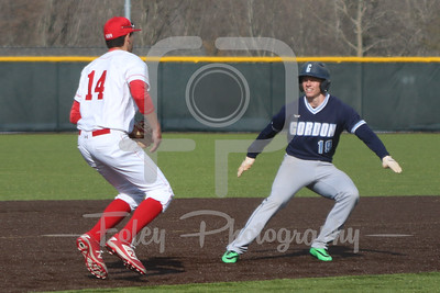 WPI Engineers third baseman Steven Gallagher (14) Gordon College Scots outfielder Alec Willey (19)