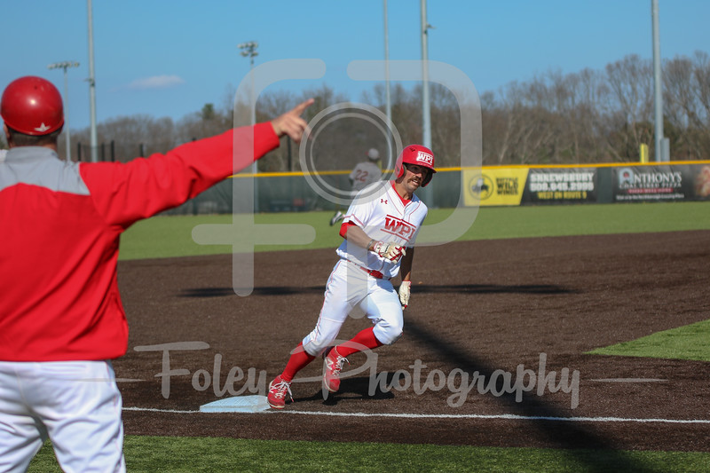 WPI Engineers outfielder Anthony Capuano (9) WPI Engineers head coach Mike Callahan