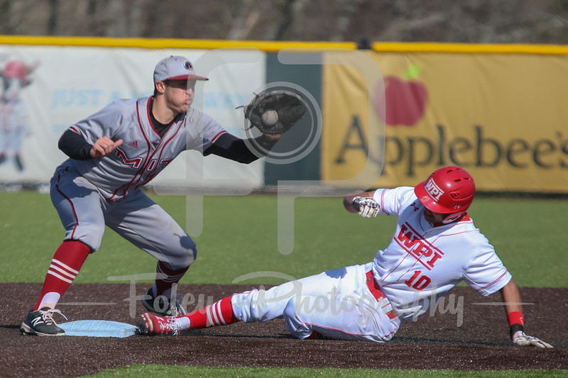 WPI Engineers outfielder Ryan Tropeano (10) MIT Engineers infielder John Drago (10)