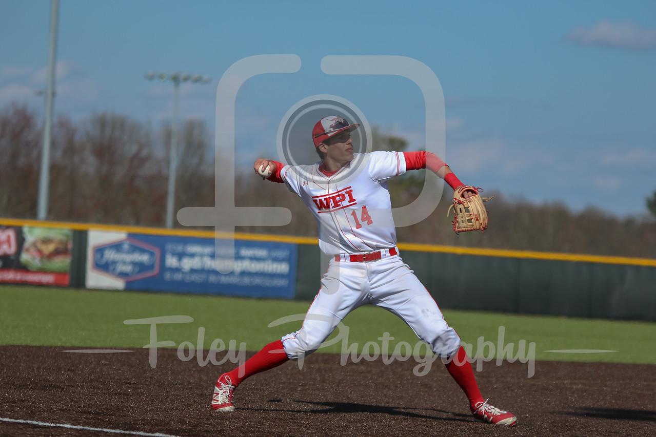 WPI Engineers third baseman Steven Gallagher (14)