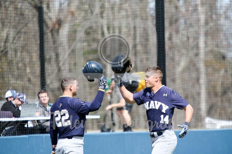 Navy Midshipmen outfielder Leland Saile (14) Navy Midshipmen infielder Jacob Williamson (22)