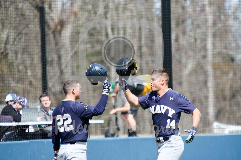 Navy Midshipmen outfielder Leland Saile (14) Navy Midshipmen infielder Jacob Williamson (22)