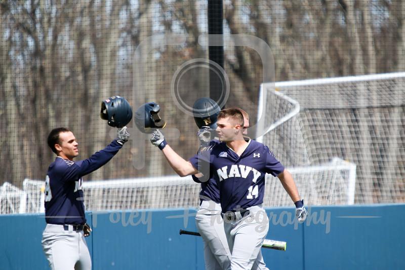 Navy Midshipmen outfielder Leland Saile (14) Navy Midshipmen outfielder Stephen Born (28)