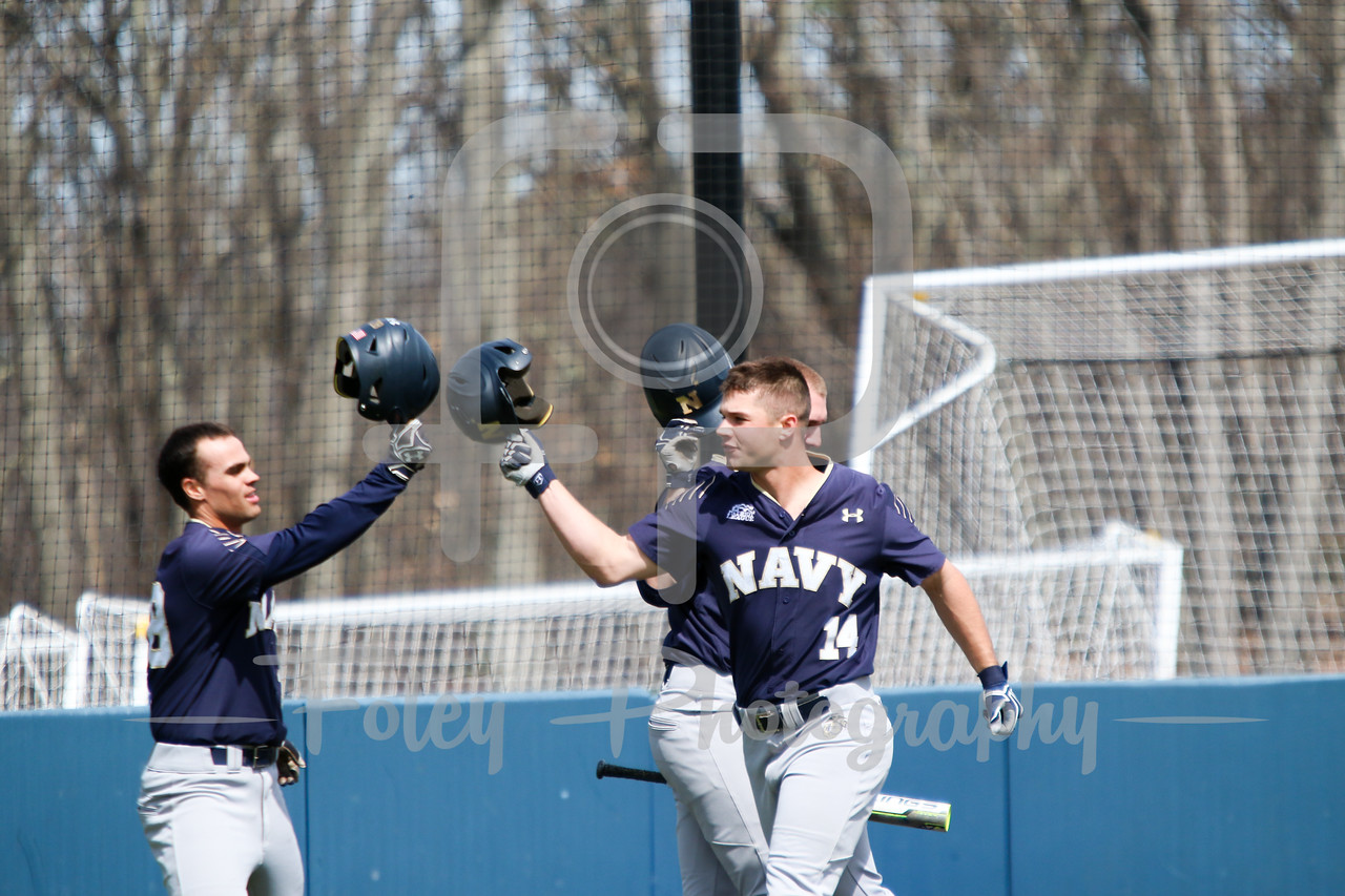 Navy Midshipmen outfielder Leland Saile (14) Navy Midshipmen outfielder Stephen Born (28)