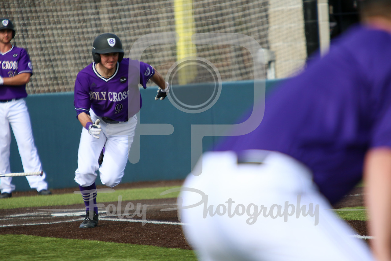 Holy Cross Crusaders outfielder Austin Masel (9)